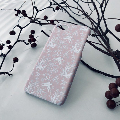 iPhone / Galaxy / Xperia compatible smartphone case bird pattern pink