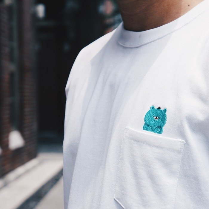 Embroidered thick pockets T-shirt / Bear / White
