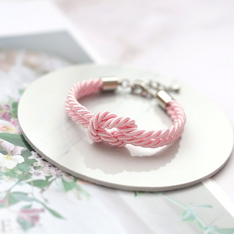Simple Knot Rope Bracelet - Blush Pink