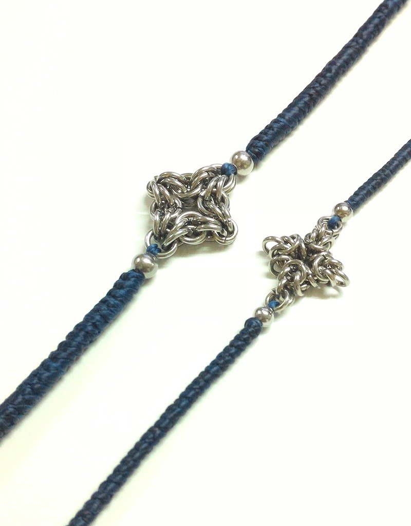 [JTBREW] Chainmaille Star & Silk Woven Bracelet (2 pcs)