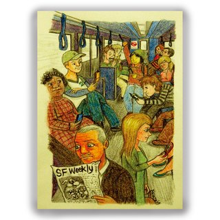 Hand-painted illustrations of universal card / card / postcard / illustrator card - mobile phone era bow down commuter bus bus ride