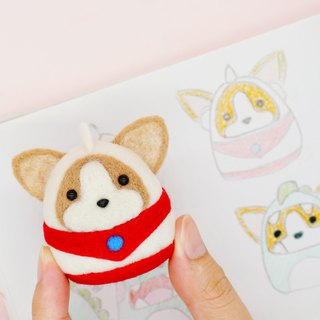 Wool felt Superman Altman Corgi dog home decoration key ring pin car decoration office small things