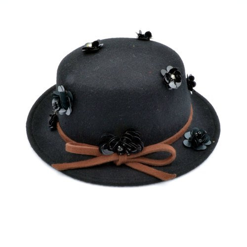 TIMBEE LO black beads flower cashmere lady hat black beads hand-made flowers