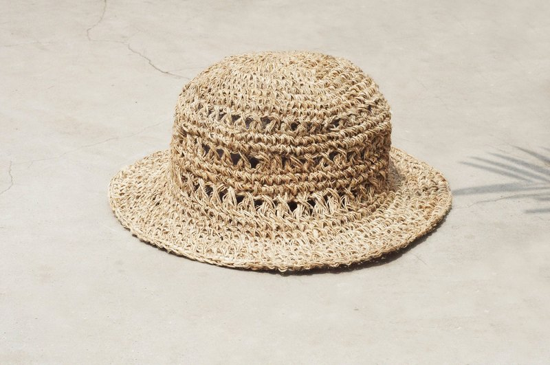 Hand-knitted cotton hat / knit hat / fisherman hat / straw hat - original summer color cotton hat