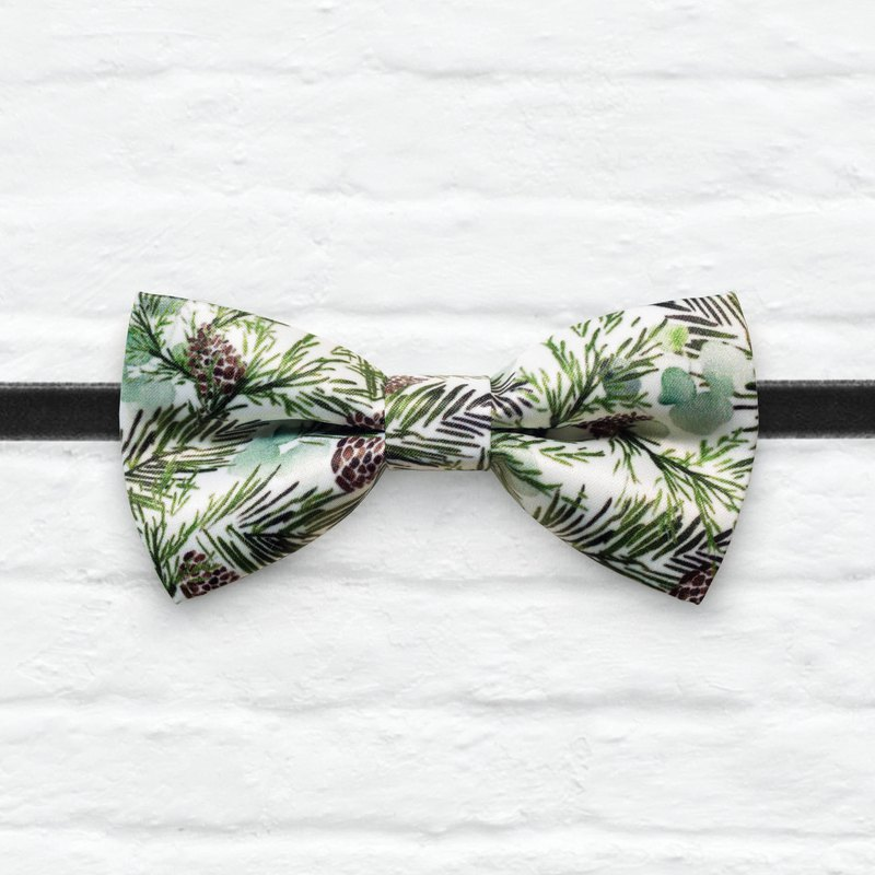 Style 0363 Pine Cones Forest Printed Bowtie - Natural Kid Gift & Wedding Bowtie