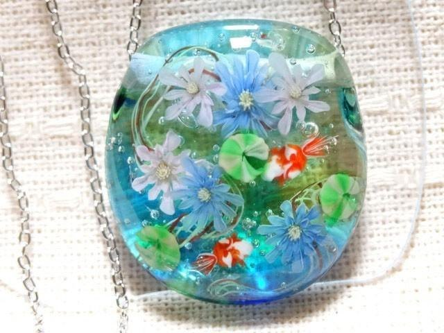 Dragonfly ball glass pendant water lilies and goldfish