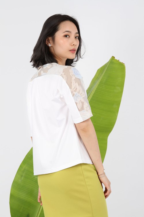 Translucent flower sleeve reflective suction row top - White