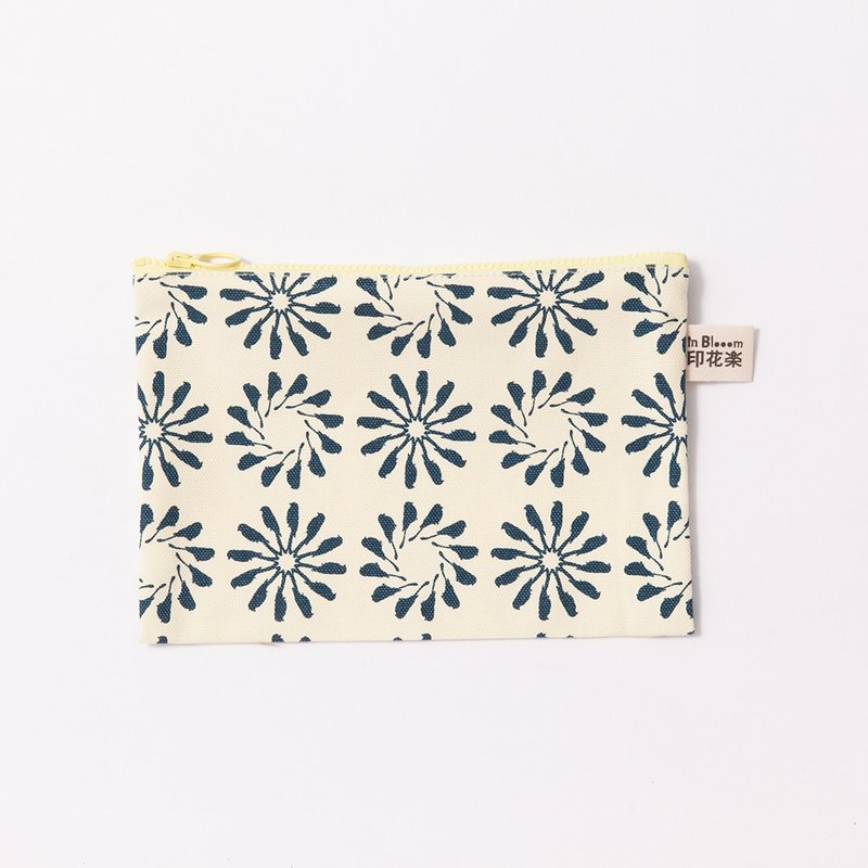 Zipper Stationery Bag / Wuqiu Circle / Beige Dark Blue