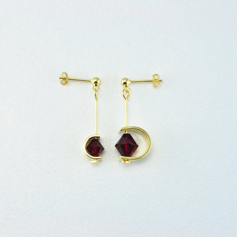 Swarovski Crystal 925 Silver Stud Earrings 【Burgundy】