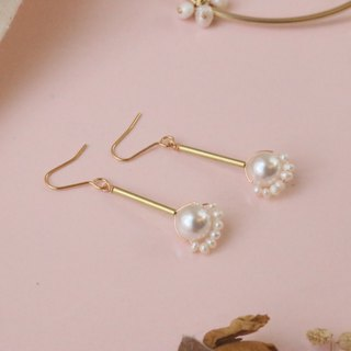 Pearl brass earrings 0738 smile