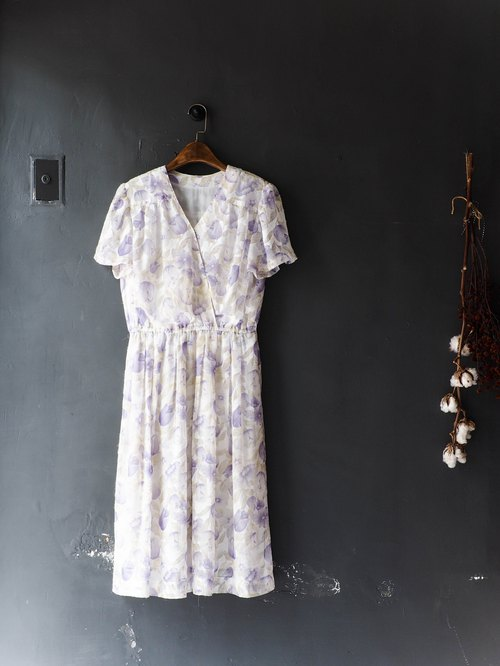 River Water Mountain - Toyama light purple spring flowers Festival Ralted yarn dress skirt oversize vintage dress