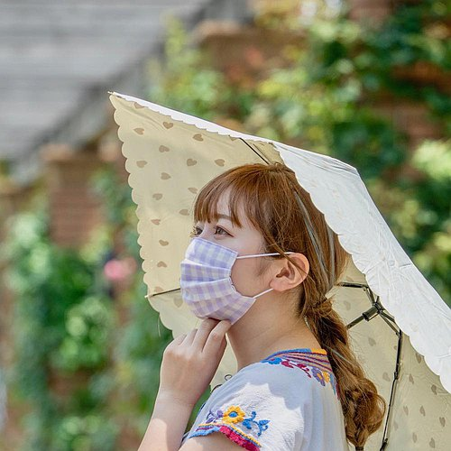 Cute pattern | handmade mask Pastel Gingham Purple | Comfortable double gauze