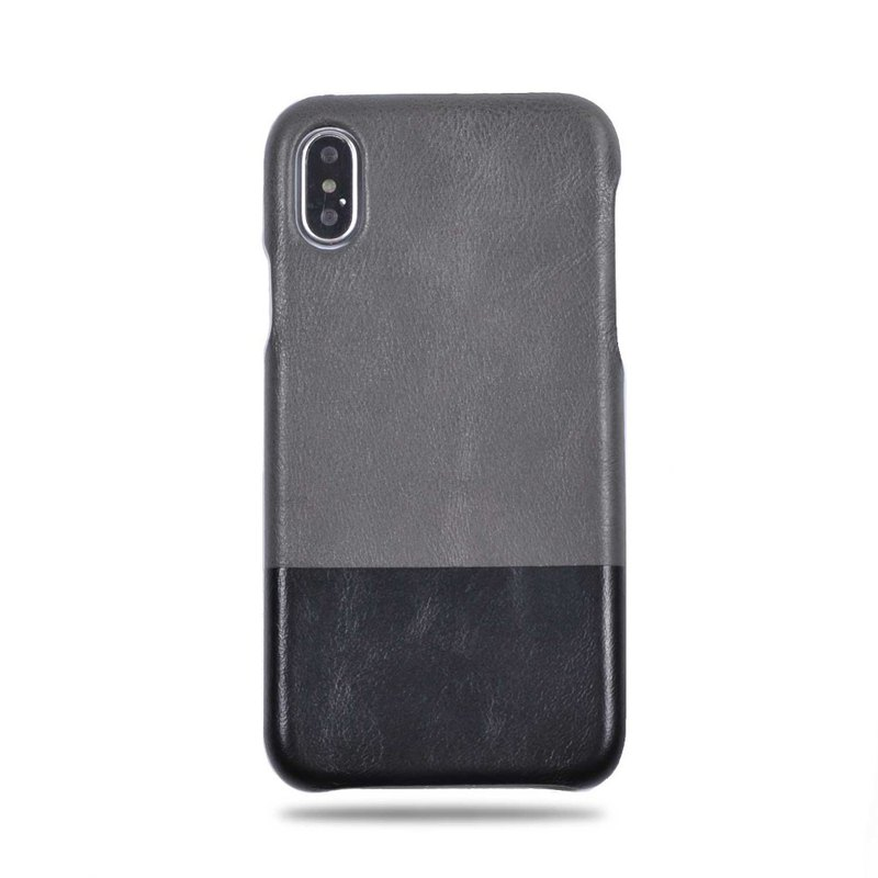 Customized light grey with black leather IPHONE XS/X phone case