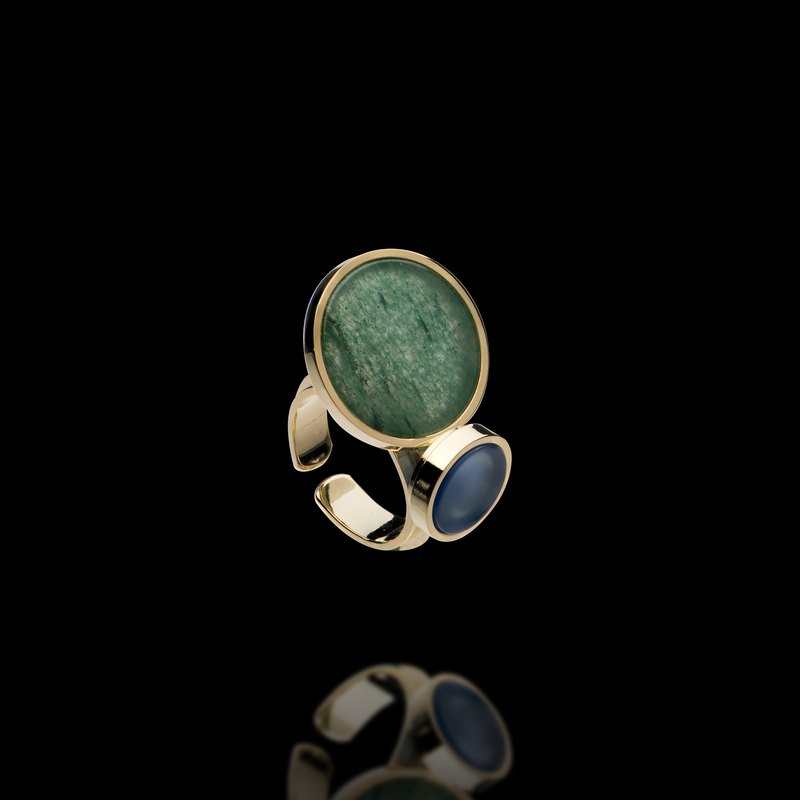 Circle geometric hit natural stone ring