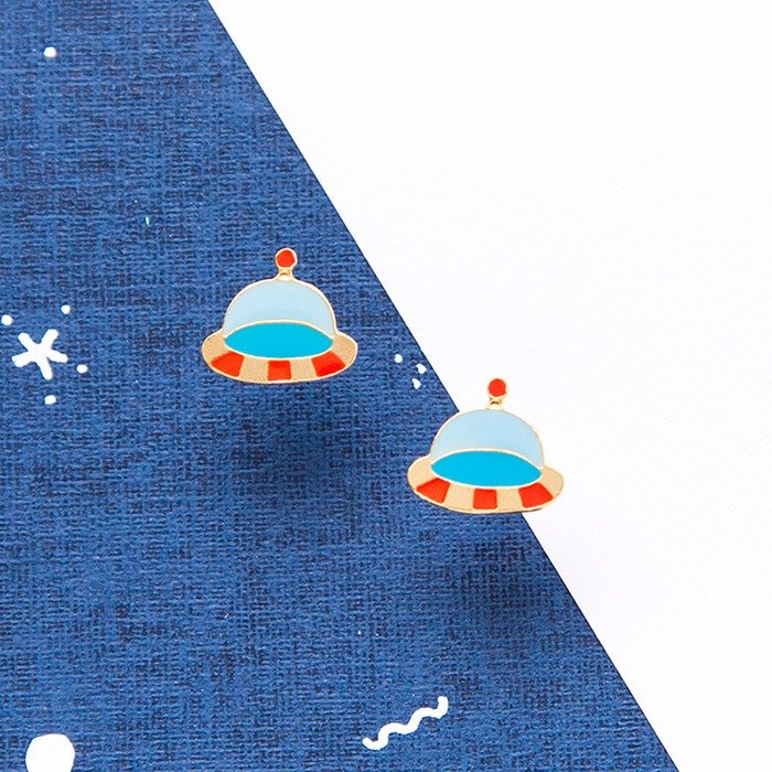 Floating UFO hand made earrings Little OH! x Sweet secret joint name