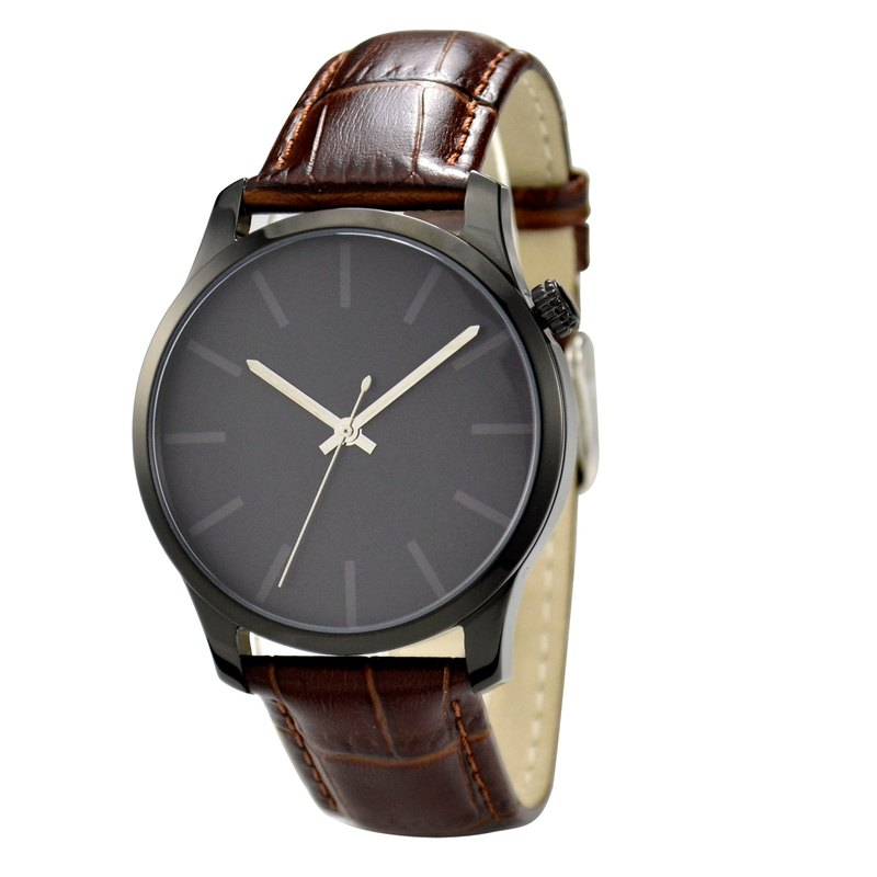 Indistinct Watch (Black) Big Size Brown Strap I Free shipping worldwide
