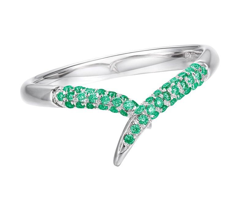 14k金祖母綠戒指 簡約白金戒指 優雅祖母綠戒指 極簡主義結婚戒指