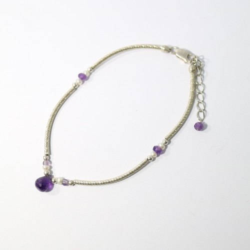 【ColorDay】 Dazzling~紫水晶_天然珍珠純銀手鍊〈Amethyst _ Pearl Silver Bracelet〉