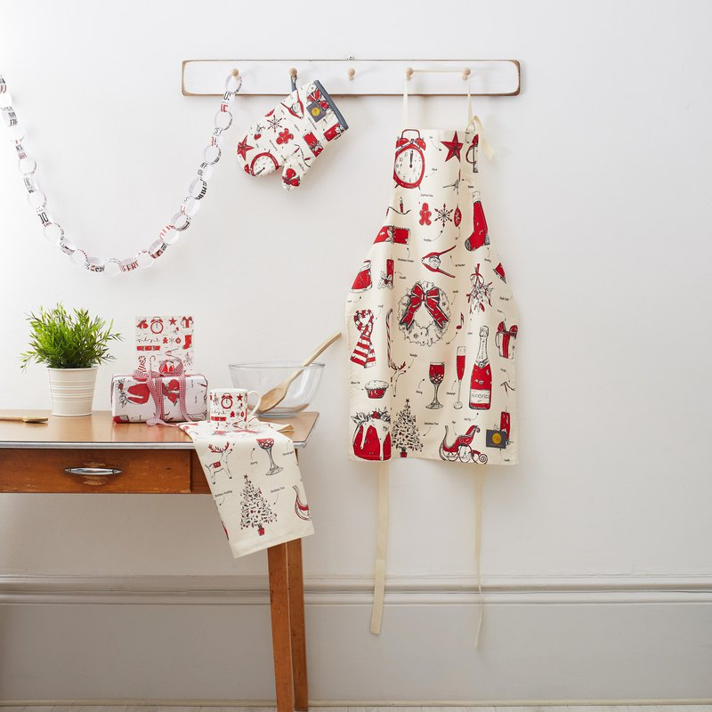 British Egg Organic Cotton Apron Christmas Carnival (Red)