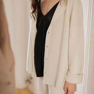 Better yourself | white French heavy imported yarn knit full wool casual suit cardigan coat