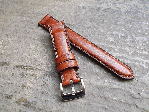Italian oil wax leather tanned leather strap handmade leather Leather handmade sew This color is brown