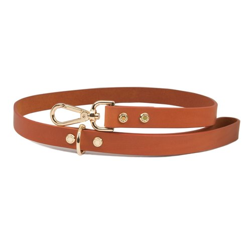 Cittadino Italian Plantago Leather Leash - Orange Tangerine