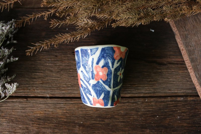 Ceramic coffee cup blue flowers
