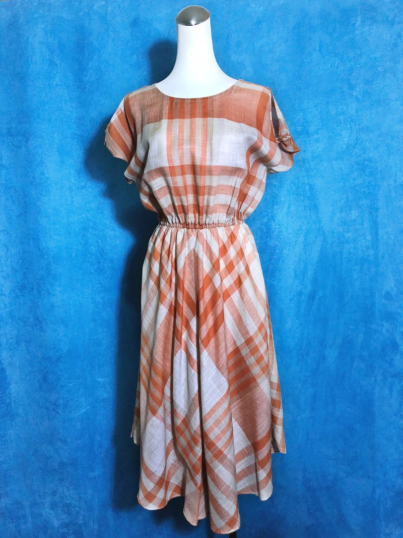 Plaid strap sleeve vintage dress / abroad to bring VINTAGE