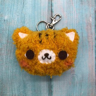 Orange Cat - Fat Doodle Woolen Animal Keyring Charm