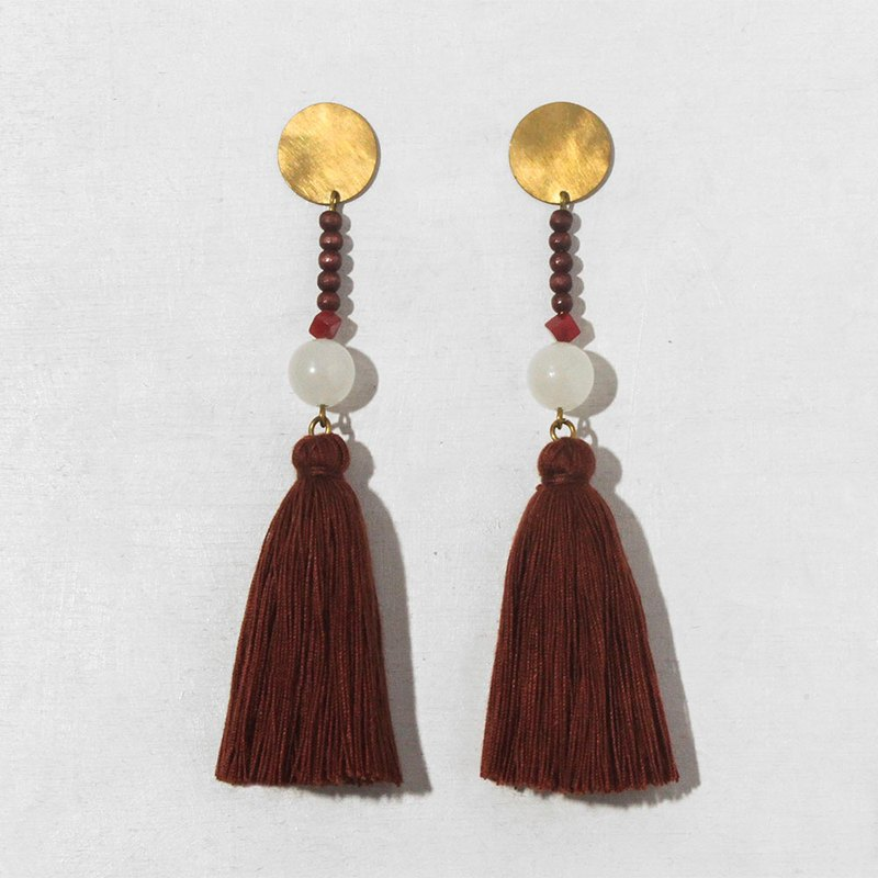 Hot Red Fringe Brass Earrings - 925 Sterling Silver Ear Pins / Clip Earrings