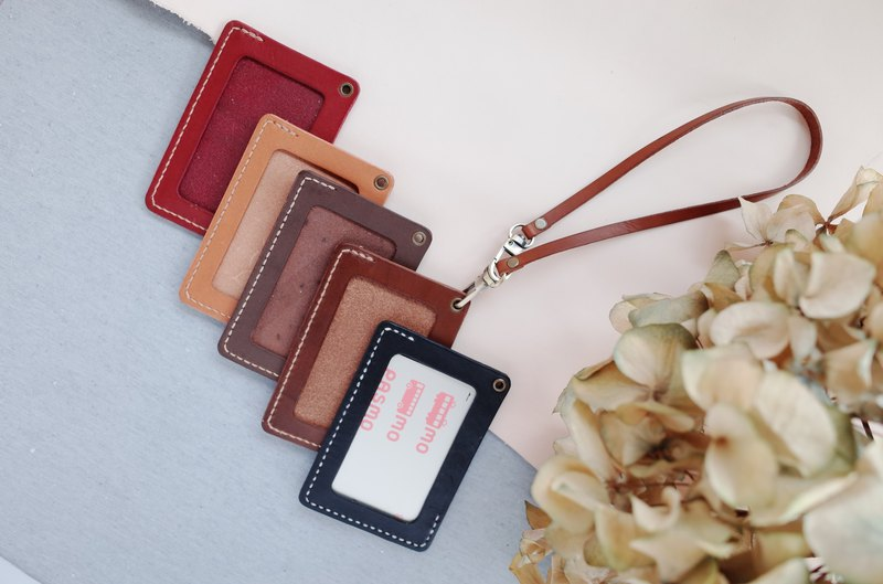 Shekinah Handmade Leather - 2-way Inclined Double-Headed ID Holder (With Double Bracelet)