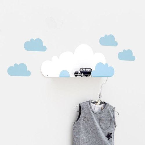 Clouds modeling shelf + wall stickers (light blue)