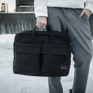Big pocket simple black briefcase computer bag