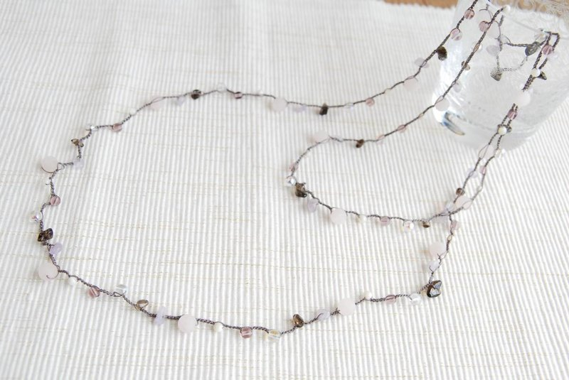 Crochet necklace Long 16B Frost Rose Quartz