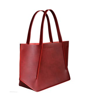 Canaly leather tote bag with zip /Red velvet