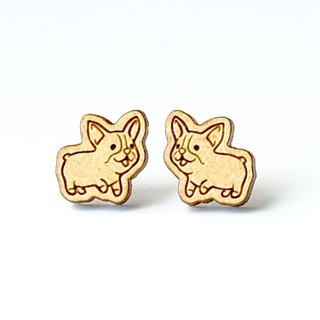 Plain wood earrings-Welsh Corgi