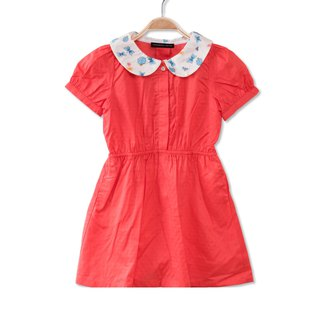 Little ladybug collar sweet orange dress