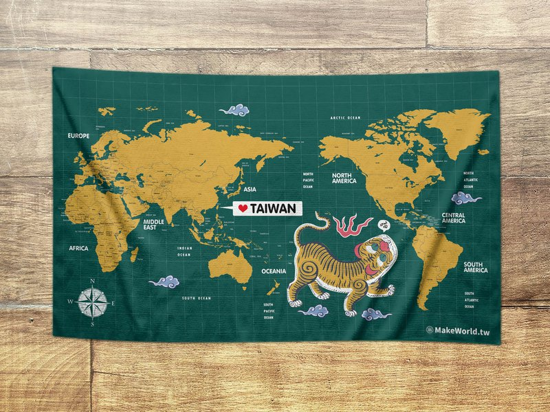 Make World map making bath towel (green tiger screaming)