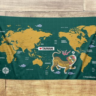 Make World map making sports bath towel (green tiger screaming)