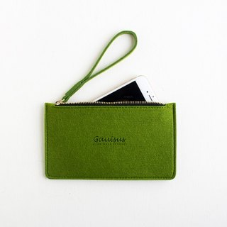 Leyang・Gauisus-Wool felt storage bag / Mobile phone bag - green grass (large)