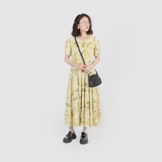 [Egg Plant Vintage] Magic Daisy Lace Cake Skirt Print Vintage Dress