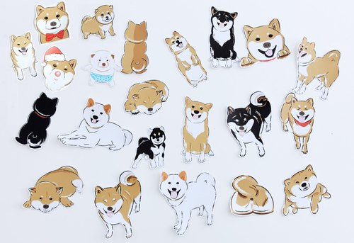 Shiba Inu Large Sticker Set (22 Stickers) Waterproof