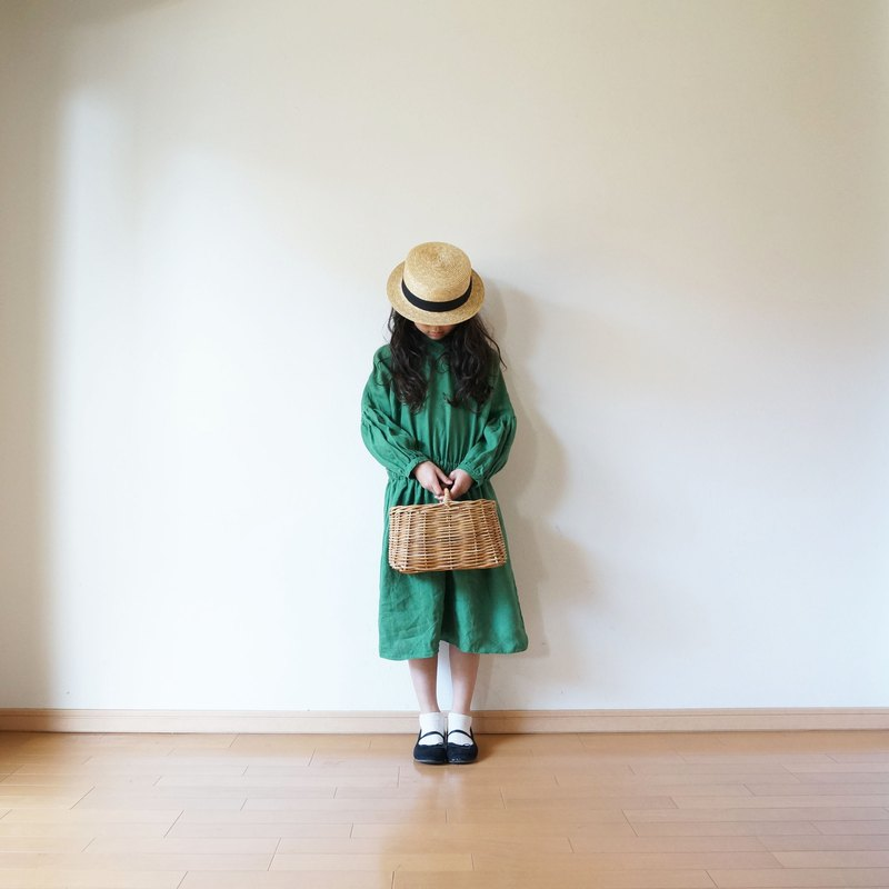 Linen waist gather one piece GREEN kids 3(120~135cm),4(140~155cm)size