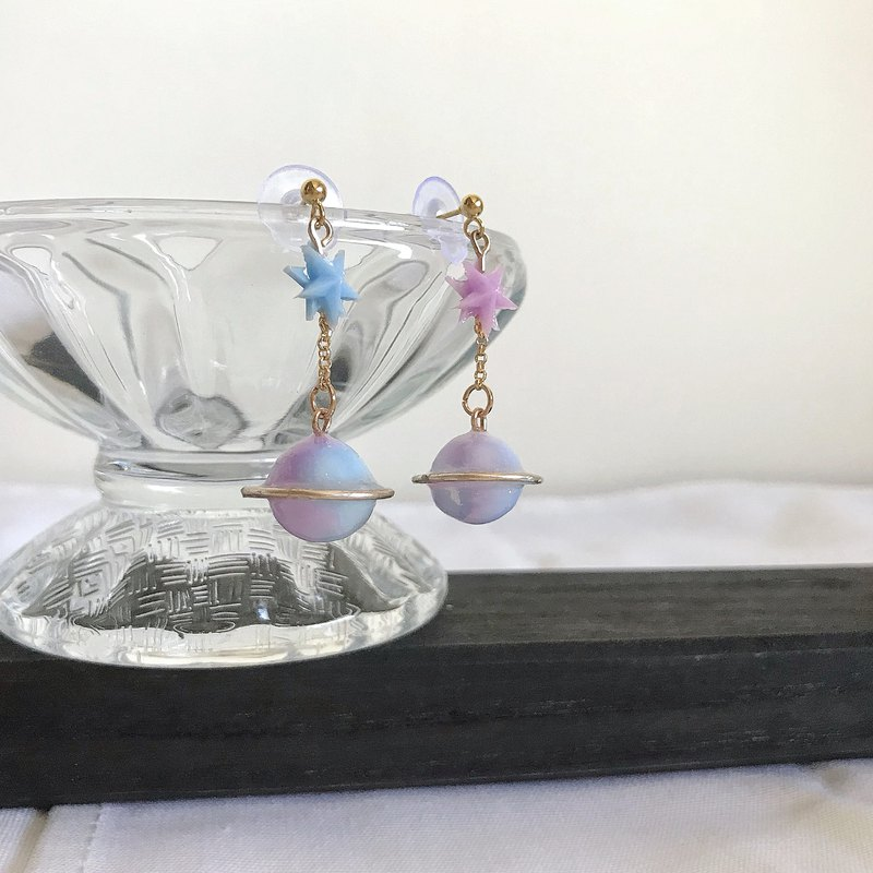 Goodbye Planet's Convention - Handmade Resin Blue Violet Rendering Drop Earrings Ear/Aurture