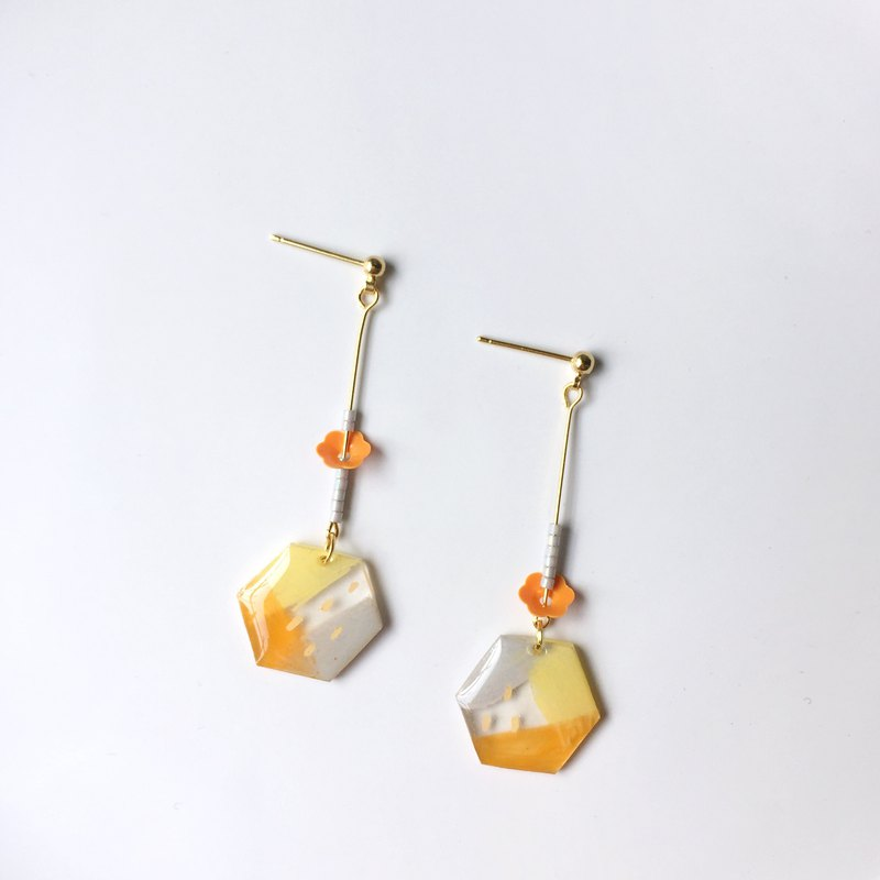 Orange soda clip / pin earrings