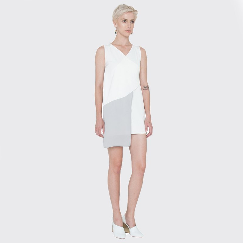 Layered Wrap Dress (White)