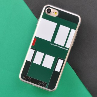 Retro Means of Transports in Hong Kong Style iPhone X Phone Case Tram