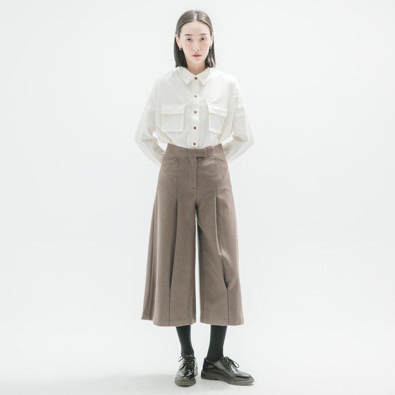 【Pinkoi獨家・經典原創】Reflux_回流羊毛褶子寬褲_CLB500_褐