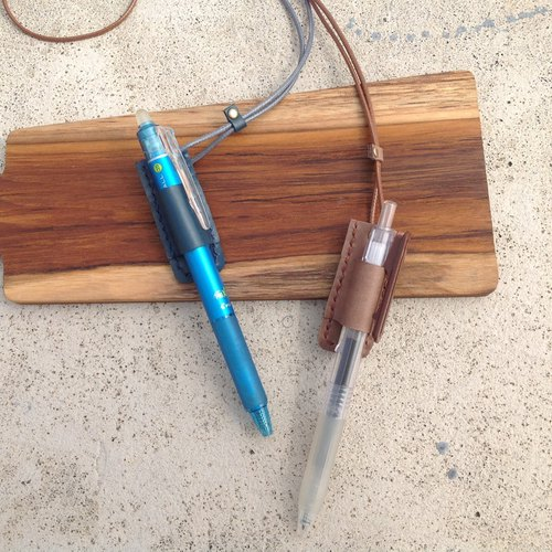 Necklace pen holder hanging, hand-stitched, leather, pen, pencil [leather]