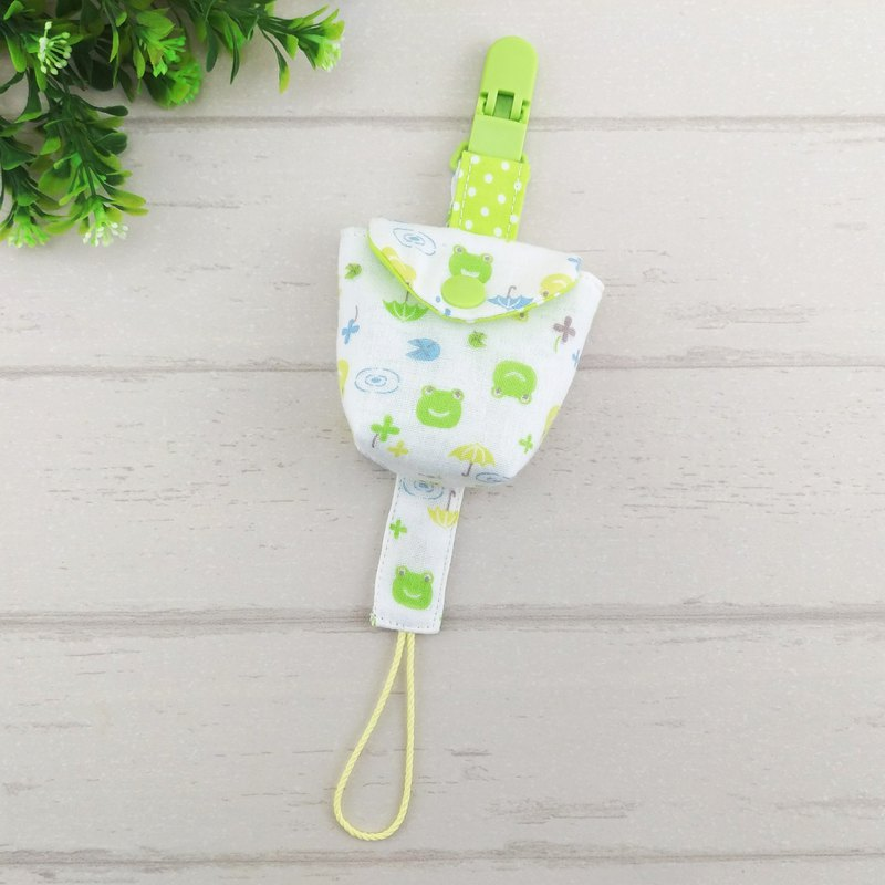 Smiling frog. Japanese double yarn pacifier bag + pacifier chain (can increase the price of 40 embroidery name)